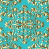 Blumengoldhand gezeichnetes nahtloses Muster Hellblaues Türkisba Stockbild