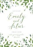 Blumengrüneinladung heiratend, laden Sie ein, speichern Sie die Datumskarte V Lizenzfreie Stockfotos