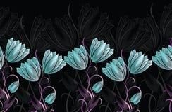 Blumengrenze der nahtlosen Tulpe vektor abbildung