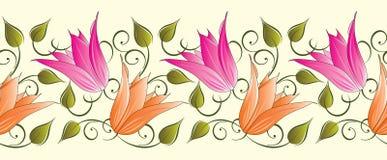 Blumengrenze der nahtlosen Tulpe stock abbildung