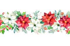 Blumengrenze der nahtlosen Wiederholung des Winters mit Blättern, Niederlassungen, Baumwolle blüht, Beeren Stockfoto
