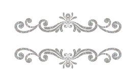 Blumengrenze des eleganten Luxusweinlesesilbers Lizenzfreie Stockfotografie