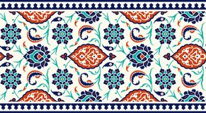 Blumengrenze für Ihr Design Nahtlose Verzierung traditioneller türkischer ï ¿ ½ Osmane Iznik lizenzfreie abbildung