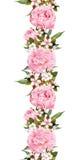 Blumengrenze mit rosa Blume Nahtloser Weinlesestreifen watercolor Lizenzfreie Stockfotos