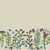 Blumengrenze, nahtlose Beschaffenheit mit Blumen Gebrauch als Grußkarte Stockbild