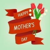 Blumengruß des glücklichen Muttertags Stockbild