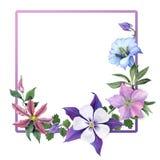 Blumengruß-Karte mit Gartenblumen Stockfoto