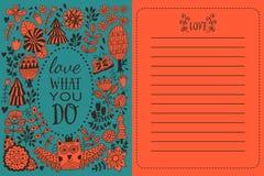 Blumengrußkarte, Illustration mit Wald, botanische Zeichnung Lizenzfreie Stockbilder