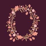 Blumenhand gezeichneter Kranz Stockbilder