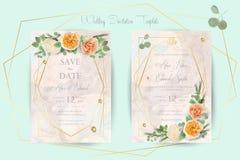 Blumenheiratseinladung, danke, rsvp, sparen das Datum, Brautdusche, Heirattag, Kartenschablonensatz, modischer Entwurf mit Kaiman lizenzfreie abbildung