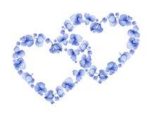 Blumenherzdesign der blauen Aquarellhortensie Stockbilder