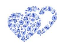 Blumenherzdesign der blauen Aquarellhortensie Stockfotografie