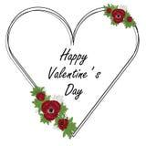 Blumenherzrahmen mit roter Anemone und grünen Blättern Auch im corel abgehobenen Betrag Valentinstagkarte stock abbildung