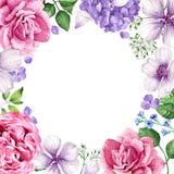 Blumenhintergrund in der Aquarellart lokalisiert auf Weiß Platz für Text Stockfoto