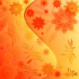 Blumenhintergrund mit Blättern Stockbild