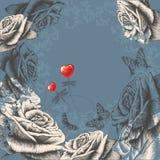 Blumenhintergrund mit den blühenden Rosen, fliegend aber Lizenzfreie Stockbilder