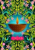 Blumenhintergrund mit Diwali Diya, das unglaubliches Indien zeigt stock abbildung