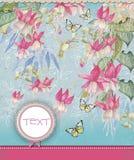 Blumenhintergrund mit Fahne für Text lizenzfreie abbildung