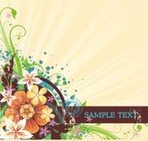 Blumenhintergrund mit Fahne für Text Lizenzfreies Stockfoto