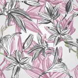 Blumenhintergrund mit Hand gezeichneten Blumen. Vektor EPS10. stock abbildung