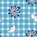 Blumenhintergrund mit Hand gezeichneten Volksblumen und Taubenvögeln Nahtloses Ostern-Vektormuster für Kissen, Kissen, Bandanna,  Stockbild