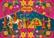 Blumenhintergrund mit indischem Hochzeit baraat, das unglaubliches Indien zeigt lizenzfreie abbildung