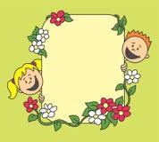 Blumenhintergrund mit Kindern Stockfoto