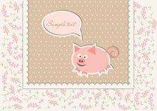Blumenhintergrund mit lustigem Schwein Lizenzfreie Stockbilder