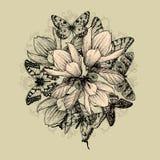 Blumenhintergrund mit Magnolienblumen und -butter stock abbildung