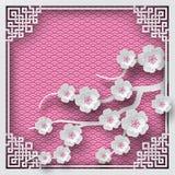Blumenhintergrund mit orientalischem Rahmen auf rosa Musterhintergrund und -kirsche blüht für Grußkarte Lizenzfreie Stockfotografie