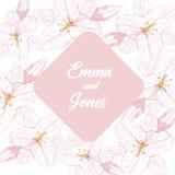 Blumenhintergrund mit rosa Linie Lilie auf weißem Hintergrund Sein kann Grußkarte, Hochzeitseinladung, Gestaltungselement lizenzfreie abbildung