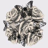 Blumenhintergrund mit Rosen und schwarzen Schmetterlingen lizenzfreie abbildung