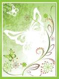 Blumenhintergrund mit Schmetterlingen auf einem grünen Hintergrund stock abbildung