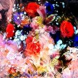 Blumenhintergrund mit stilisiertem Blumenstrauß von Rosen, Lilie, Kornblumen Stockbild