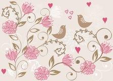 Blumenhintergrund mit Vögeln Lizenzfreie Stockfotografie