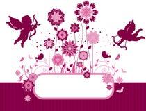 Blumenhintergrund mit Vögeln und Amor. Lizenzfreie Stockfotos