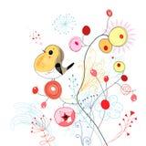 Blumenhintergrund mit Vogel Stockbild