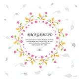 Blumenhintergrund-Schablone mit Blättern, Niederlassungen und Früchten Lizenzfreie Stockfotografie