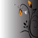 Blumenhintergrundgelbschwarzes Lizenzfreies Stockbild