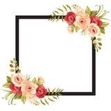 Blumenhintergrundschablone mit Rosen und schwarzem Rahmen lizenzfreie abbildung