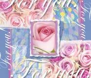Blumenhochzeits-Einladung Hand gezeichneter Weinlesecollagenrahmen mit Rosen Feiertagskarte mit Rahmen, rosa Rosen, Text Stockfotografie