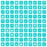 100 Blumenikonen stellten Schmutz blau ein Stockbilder