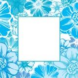 Blumenkarte im Blau Stockbild