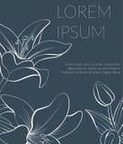 Blumenkarte mit schöner Lilienblume stock abbildung