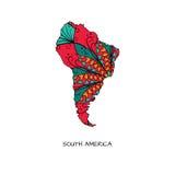 Blumenkarte von Südamerika Lizenzfreies Stockfoto
