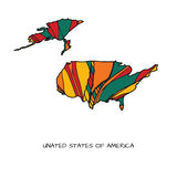 Blumenkarte von USA Stockfoto