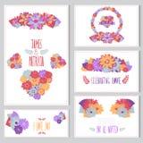 Blumenkartensatz Stockbilder