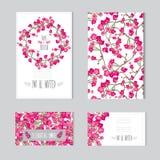 Blumenkartensatz Stockfotografie