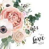 Blumenkartenvektor elegantes Design mit Gartenblumen-Lavendel-PU stock abbildung