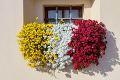 Blumenkasten bei Lago di Garda Stockbilder